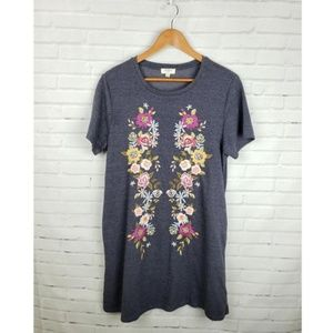 Umgee Navy Floral Embroidered Knit Dress Pockets